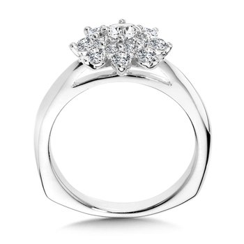 Modern Floral Halo Diamond Engagement Ring