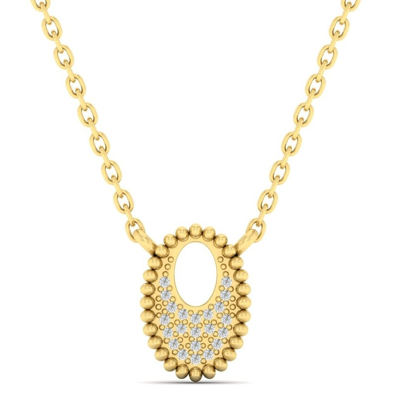 Gems One Diamond Medallion Starlight Oval Necklace in 14k Yellow Gold Necklace (0.04ctw)