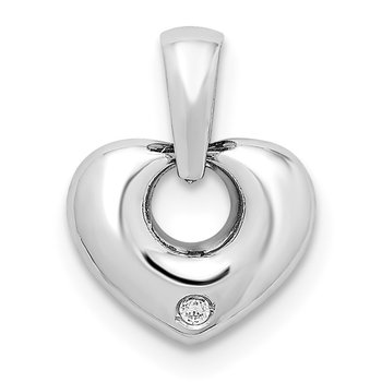 14k White Gold 3D CZ Heart Pendant