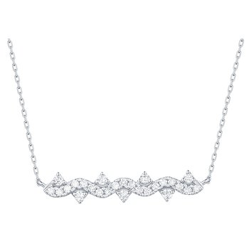 Smiling Rocks 0.28Ct G-H/VS1 Lab Grown Diamond Cruve Bar Necklace