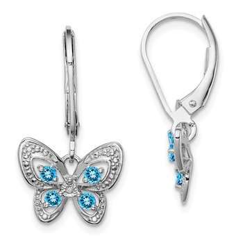Sterling Silver Rhodium-plated Blue Topaz & Diamond Earrings