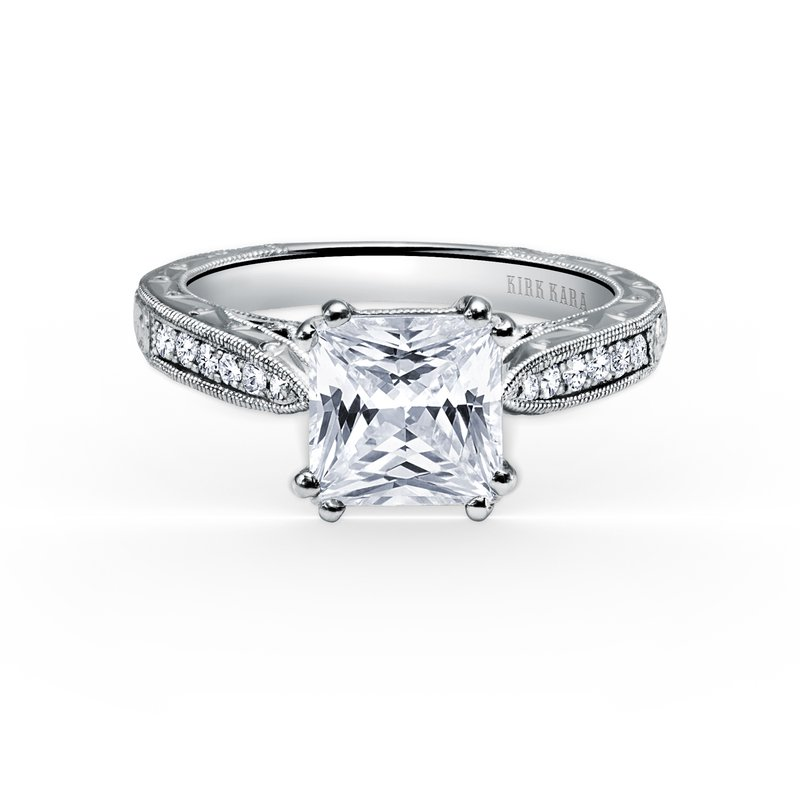 Home Try On Engraved Princess Center Replica Engagement Ring