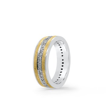 Platinum 24K Yellow Gold Diamond Two Tone Band