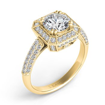Yellow Gold Engagement Ring Pave