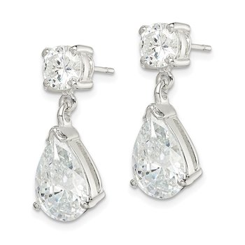 Sterling Silver CZ Pear Shaped Dangle Earrings