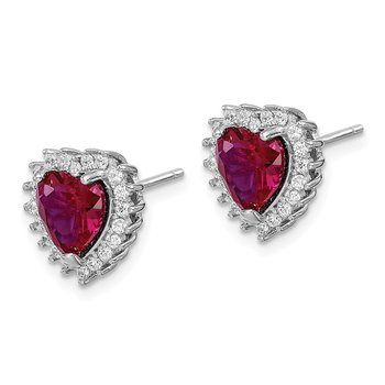 Sterling Silver RH-plated Created Corundum/CZ Heart Post Earrings