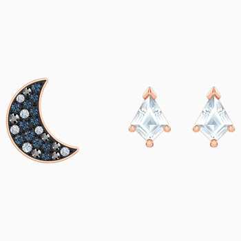 Swarovski Symbolic Pierced Earrings set, Multi-colored, Rose-gold tone plated