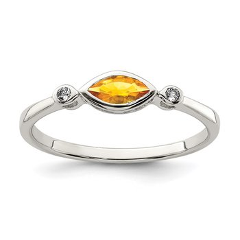 Sterling Silver Polished Citrine and White Topaz Ring