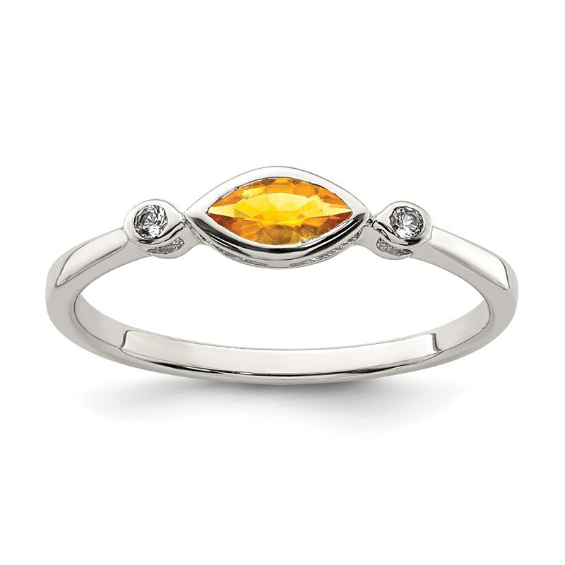 Quality Gold Sterling Silver Polished Citrine and White Topaz Ring