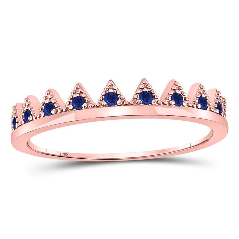 Kingdom Treasures 10kt Rose Gold Womens Round Blue Sapphire Chevron Stackable Band Ring 1/10 Cttw