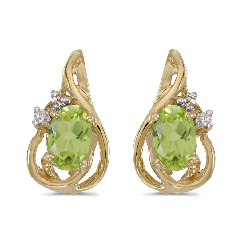 Color Merchants 10k Yellow Gold Oval Peridot And Diamond Teardrop Earrings