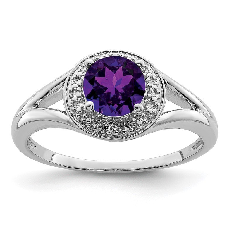 Quality Gold Sterling Silver Rhodium-plated Diam. & Amethyst Ring