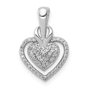 14k White Gold 1/5ct. Diamond Fancy Double Heart Chain Slide