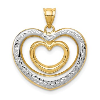 14K & White Rhodium Polished D/C Heart Pendant