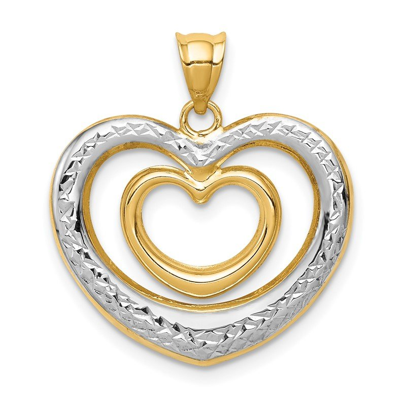 Quality Gold 14K & White Rhodium Polished D/C Heart Pendant