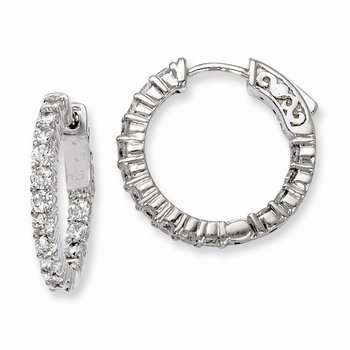 Sterling Silver Rhodium-plated CZ 30 Stone In and Out Hoop Earrings