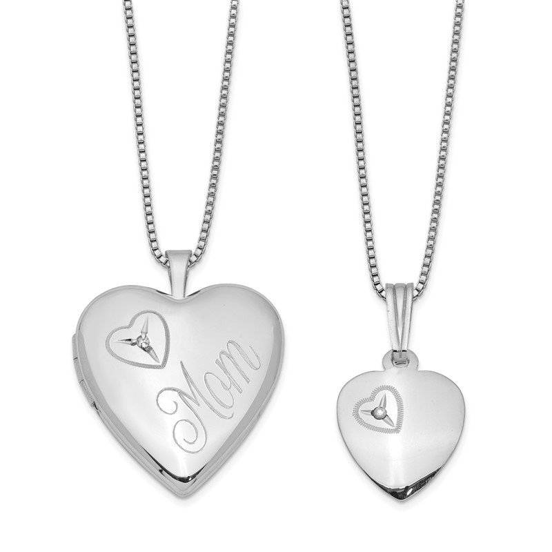 Quality Gold Sterling Silver RH-plated Diamond Polished Heart Locket & Pendant Set