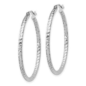 Sterling Silver Rhodium Plated Diamond-cut 2x35mm Hoop Earrings