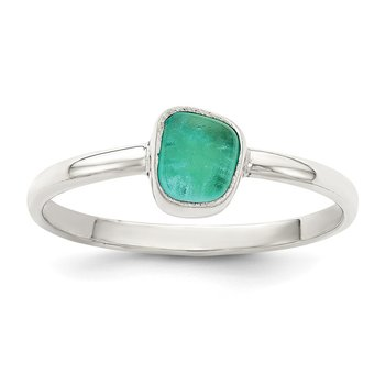 Sterling Silver Teal Sea Glass Ring