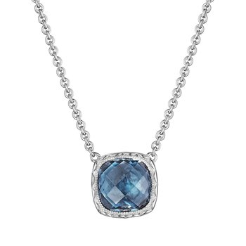 Cushion Gem Necklace with London Blue Topaz