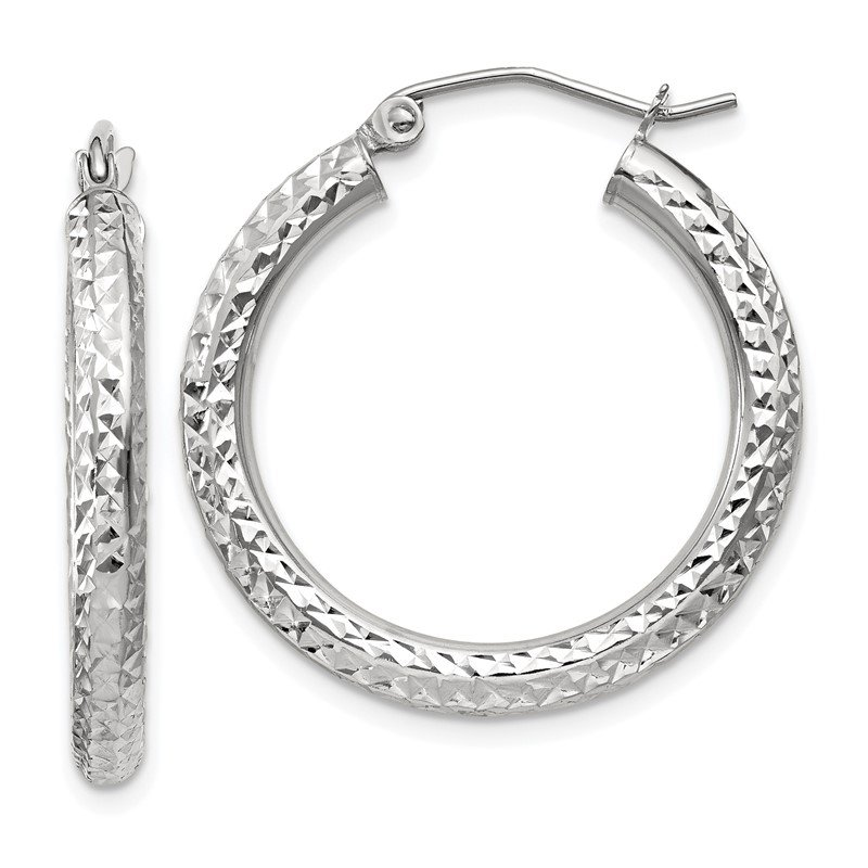 Quality Gold 10k White Gold Diamond-cut 3mm Round Hoop Earrings