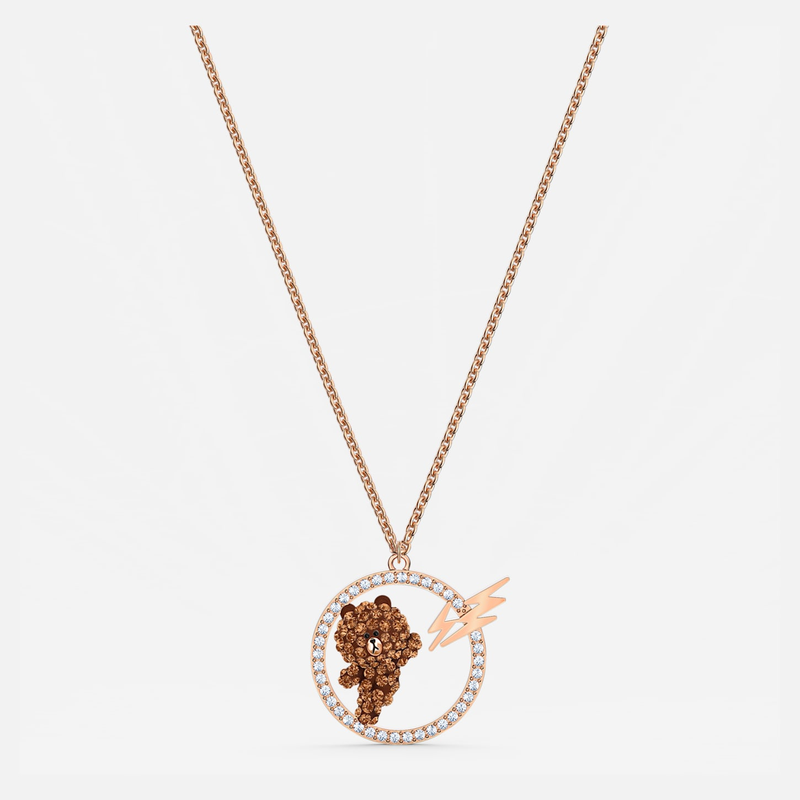 Swarovski Line Friends Skateboard Pendant, Brown, Rose-gold tone plated