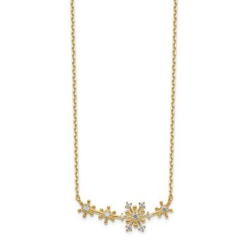 14K Snowflakes CZ with 2IN EXT Necklace