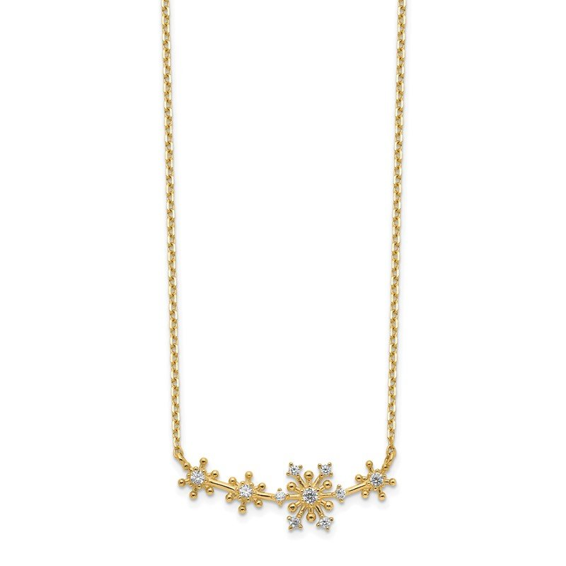 Quality Gold 14K Snowflakes CZ with 2IN EXT Necklace