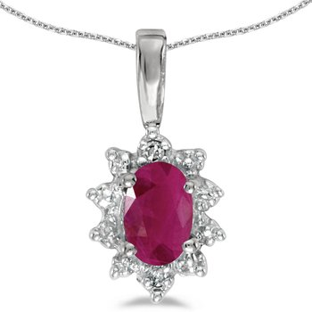 10k White Gold Oval Ruby And Diamond Pendant