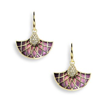Purple Art Deco Fan Wire Earrings.18K -Diamonds - Plique-a-Jour