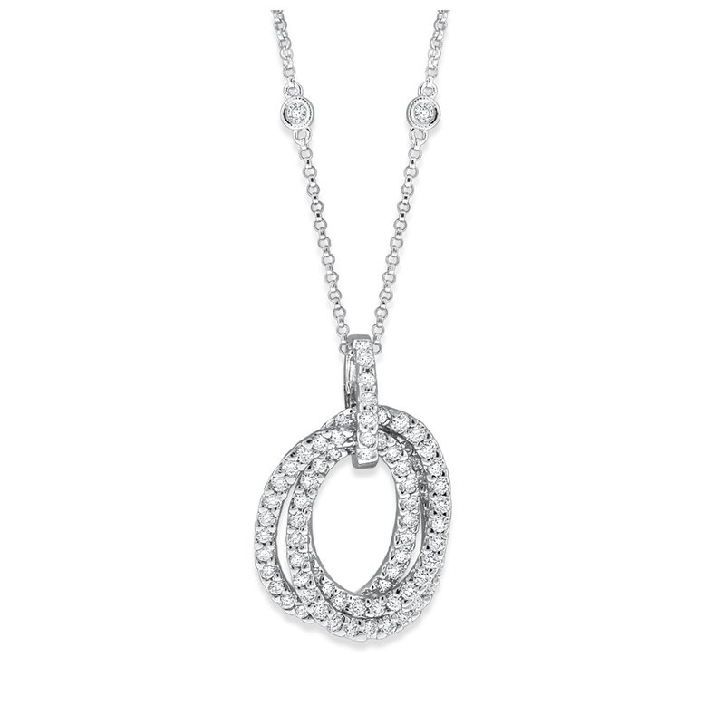 KC Designs Diamond Triple Oval Necklace in 14K White Gold with 99 Diamonds Weighing 1.36 ct tw