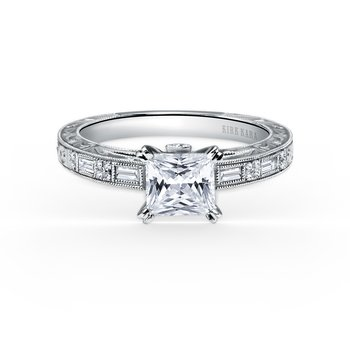 Deco Engraved Baguette Diamond Engagement Ring