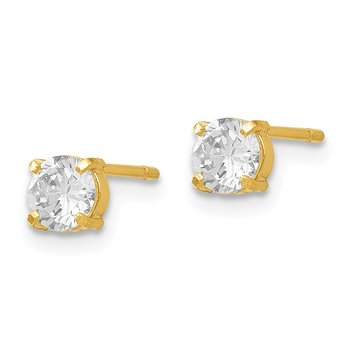 Leslies 14k CZ Stud 4.0mm Earrings