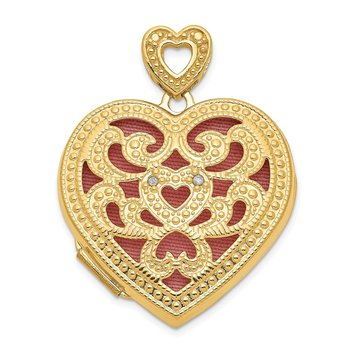 14ky 24mm w/ Diamond Vintage Heart Locket
