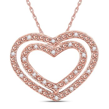 10kt Rose Gold Womens Round Diamond Double Heart Pendant 1/12 Cttw