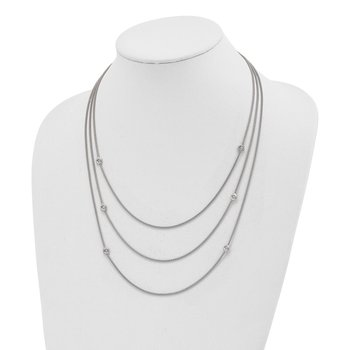 Sterling Silver Polished Multi Strand CZ w/2 in ext Necklace
