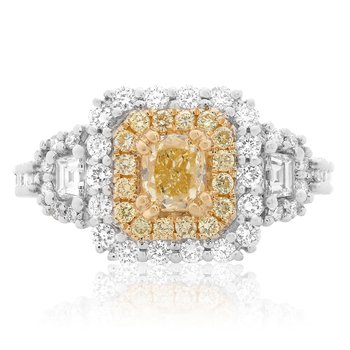 Double Halo Diamond Side Stone Ring