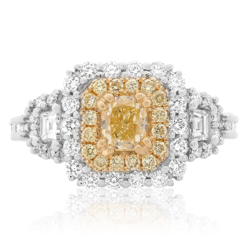 Roman & Jules Double Halo Diamond Side Stone Ring