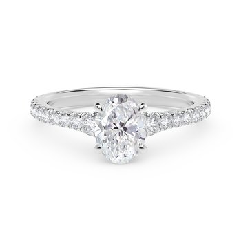 Forevermark Icon™ Setting Oval Engagement Ring with Diamond Band