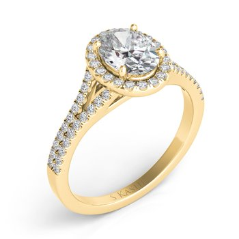 Yellow Gold Oval Halo Ring