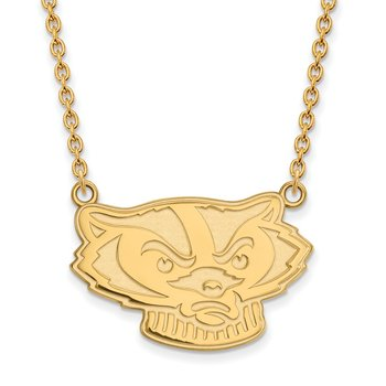 Gold University of Wisconsin NCAA Necklace