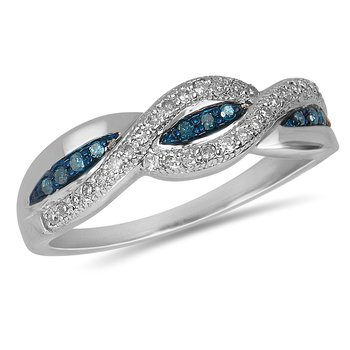 925 SS and White and Blue Diamond Braid Design Shank Ring in Prong and Channel Setting