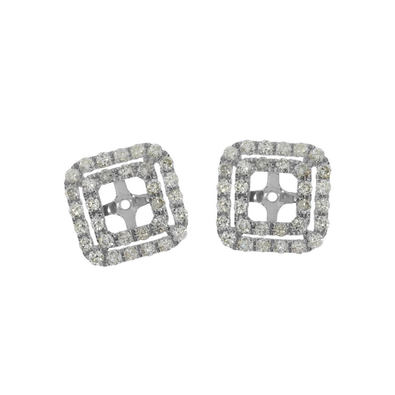 Color Merchants 14K White Gold Diamond Earring Jackets