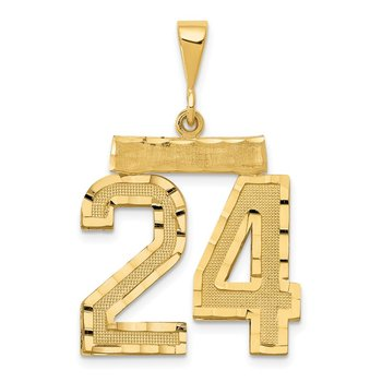 14k Large Diamond-cut Number 24 Charm