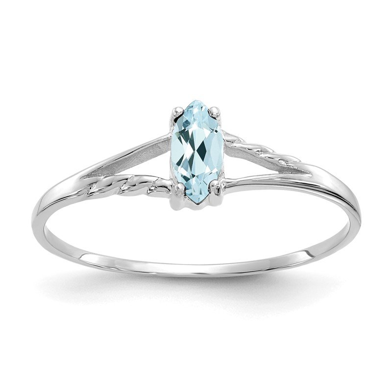 Quality Gold 10k White Gold Polished Geniune Aquamarine Birthstone Ring