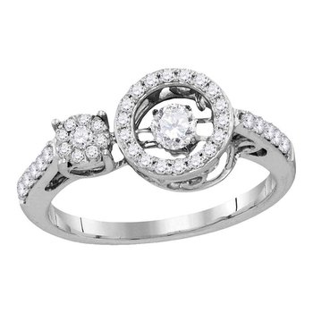 10kt White Gold Womens Round Diamond Moving Twinkle Solitaire Ring 1/2 Cttw