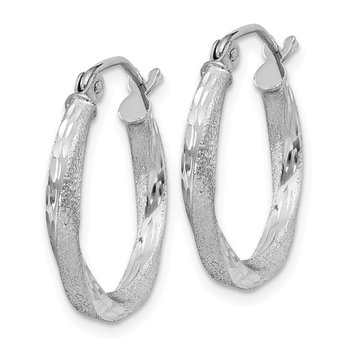 Sterling Silver RH-plated Satin D/C 2.5x18mm Twisted Hoop Earrings