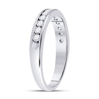14kt White Gold Womens Round Diamond Single Row Channel-set Wedding Band 1/3 Cttw