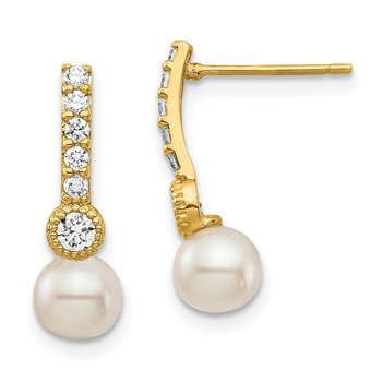 14K 6mm White Semi-round Freshwater Cultured Pearl CZ Post Drop Earrings