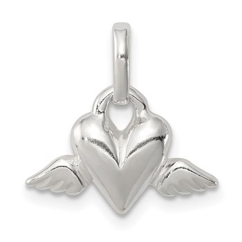Sterling Silver Heart w/Wings Charm